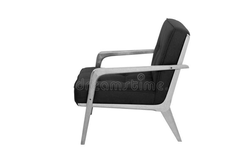 Concepteur moderne noir de fauteuil de tissu et en bois images libres de droits