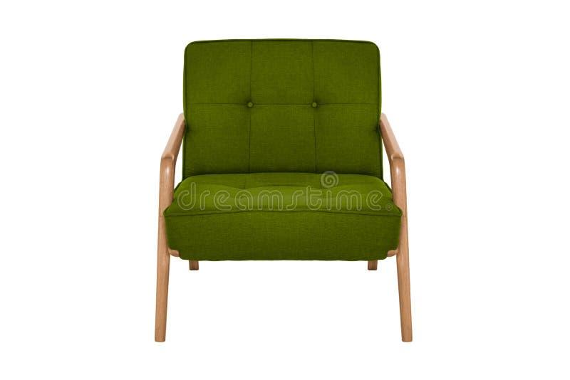 Concepteur moderne vert de fauteuil de tissu et en bois images libres de droits