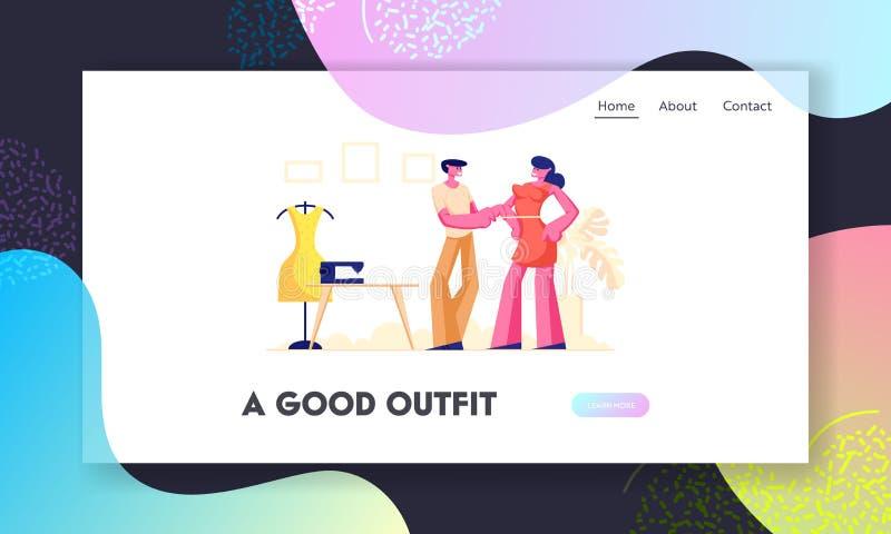 Concepteur Website Landing Page, sein de Measuring Woman Customer de couturière ou de tailleur de vêtement pour faire la robe, co illustration de vecteur