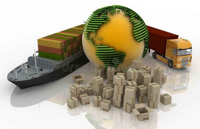 Conceptie van het vervoeren van ladingen vector illustratie