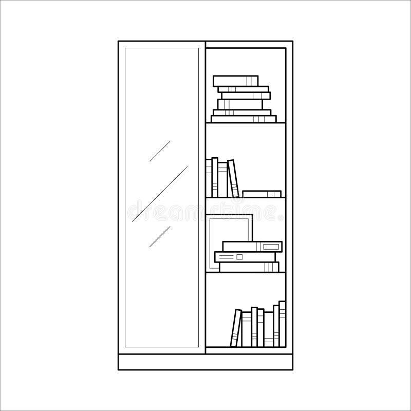 Conception à la maison de lineart de meubles de bibliothèque, concept intérieur illustration stock