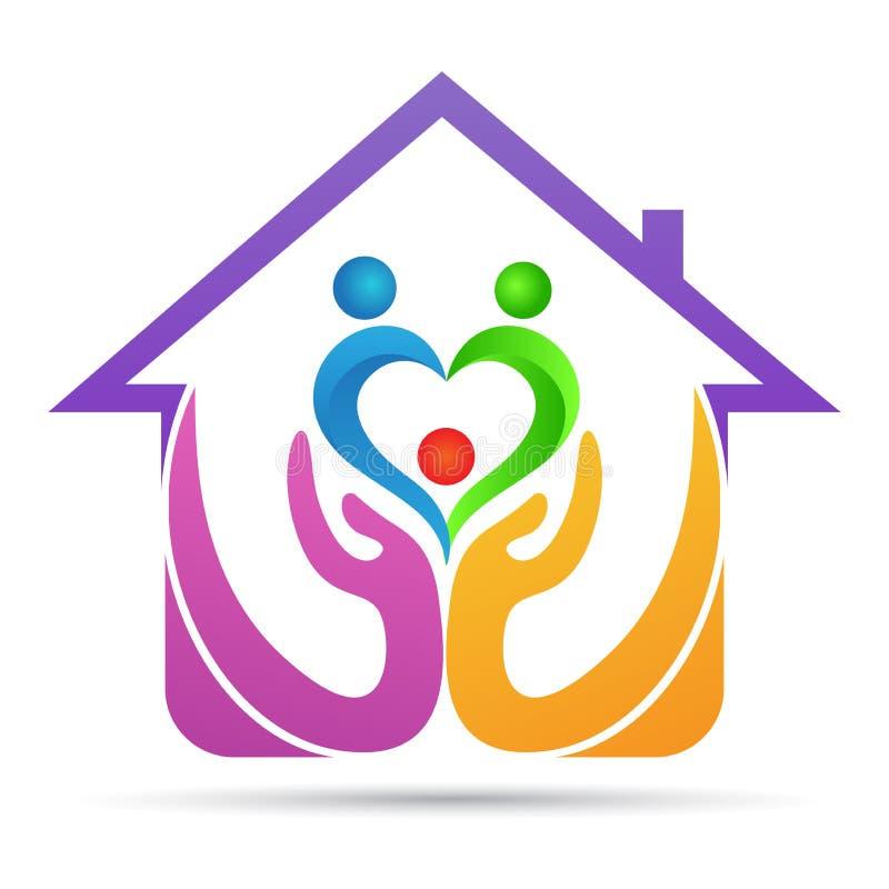 Conception à la maison de logo d'amour de famille de couples d'aîné de personnes de soin de confiance illustration de vecteur