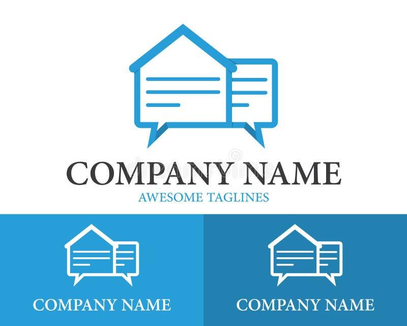 Conception à la maison de Logo Design Template Flat Style de papier de causerie Illustration de vecteur illustration stock