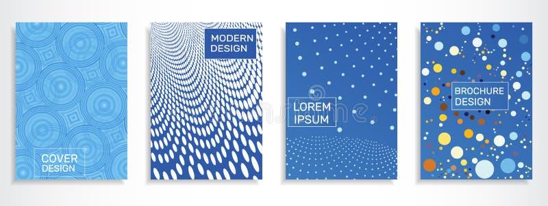 Conception à la mode de couvertures de carnet avec des cercles Calibre du format A4 illustration stock