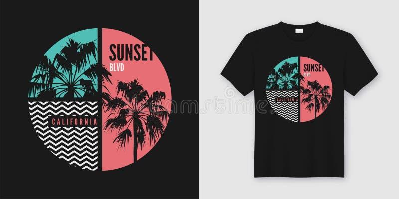 Conception à la mode de T-shirt et d'habillement de la Californie de Bd. de coucher du soleil avec la PA illustration libre de droits