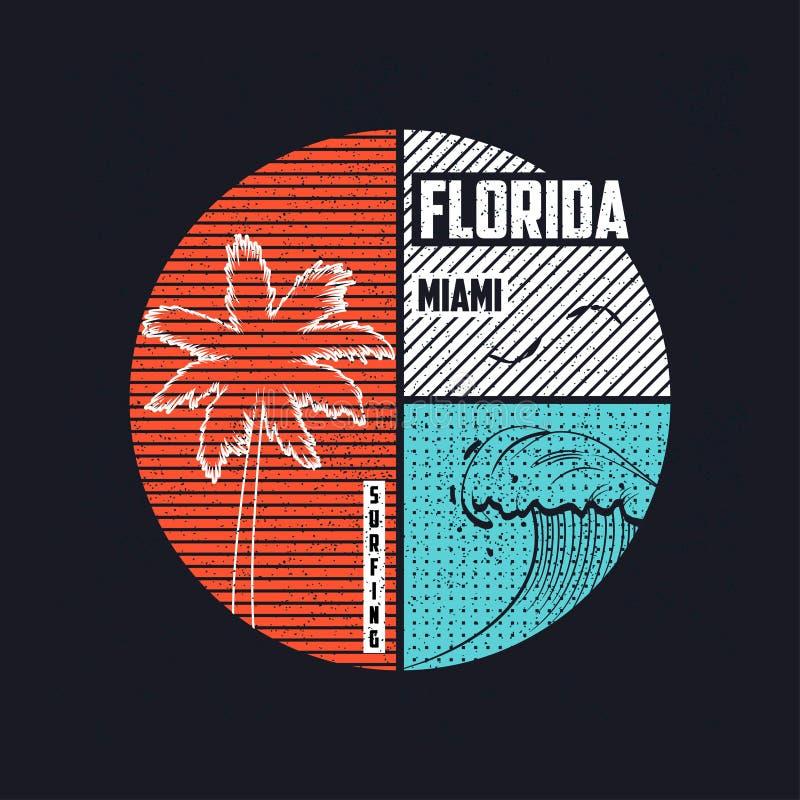 Conception à la mode de T-shirt de Miami, la Floride avec des silhouettes de vague et de palmiers Typographie surfante d'habillem illustration de vecteur