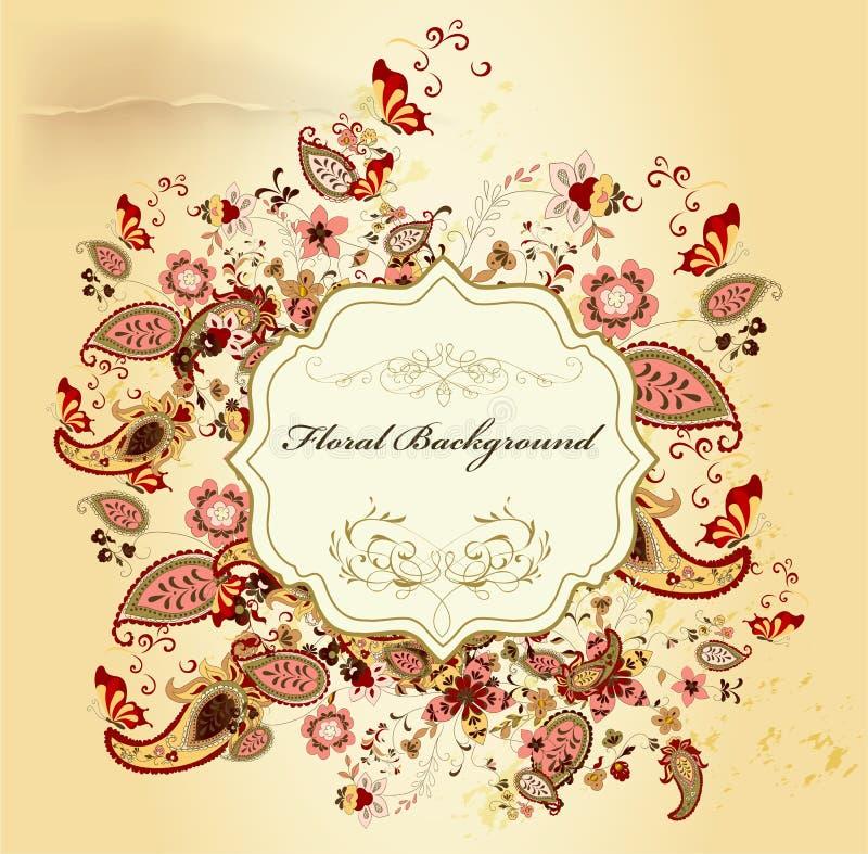 Conception élégante élégante avec le cru floral illustration stock