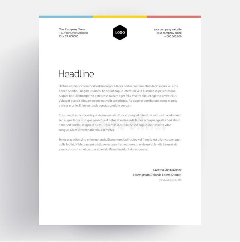 Conception élégante de calibre d'en-tête de lettre dans le style minimaliste illustration de vecteur