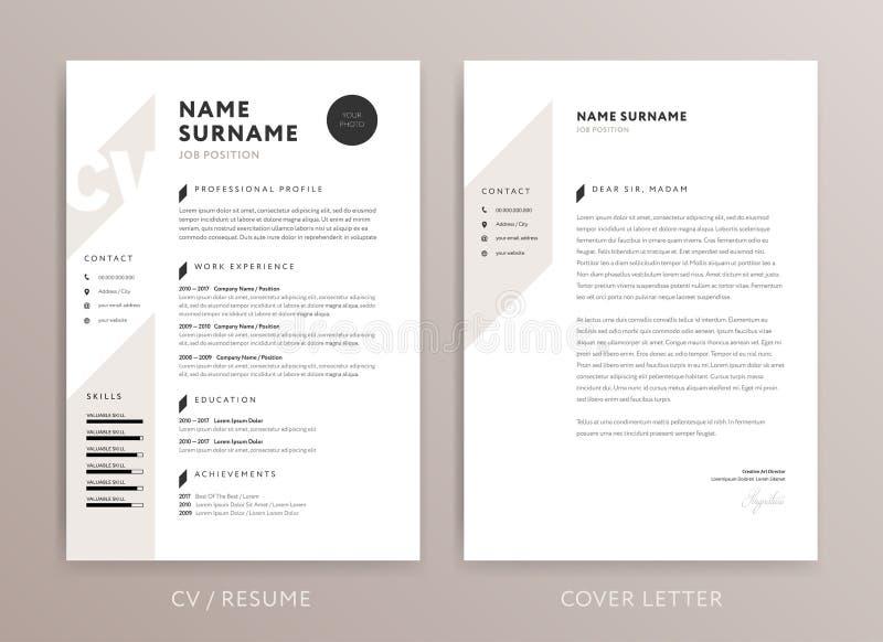 Conception élégante de cv - calibre de lettre d'accompagnement de curriculum vitae - ROS illustration stock