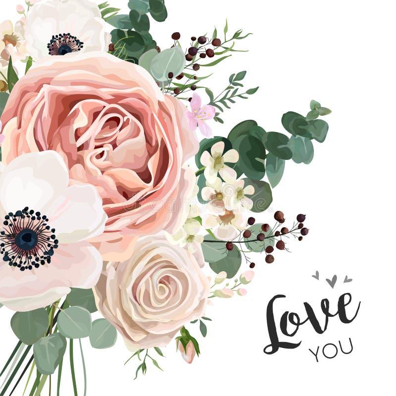 Conception élégante de vecteur floral de carte avec la lavande pi de fleur de jardin illustration stock
