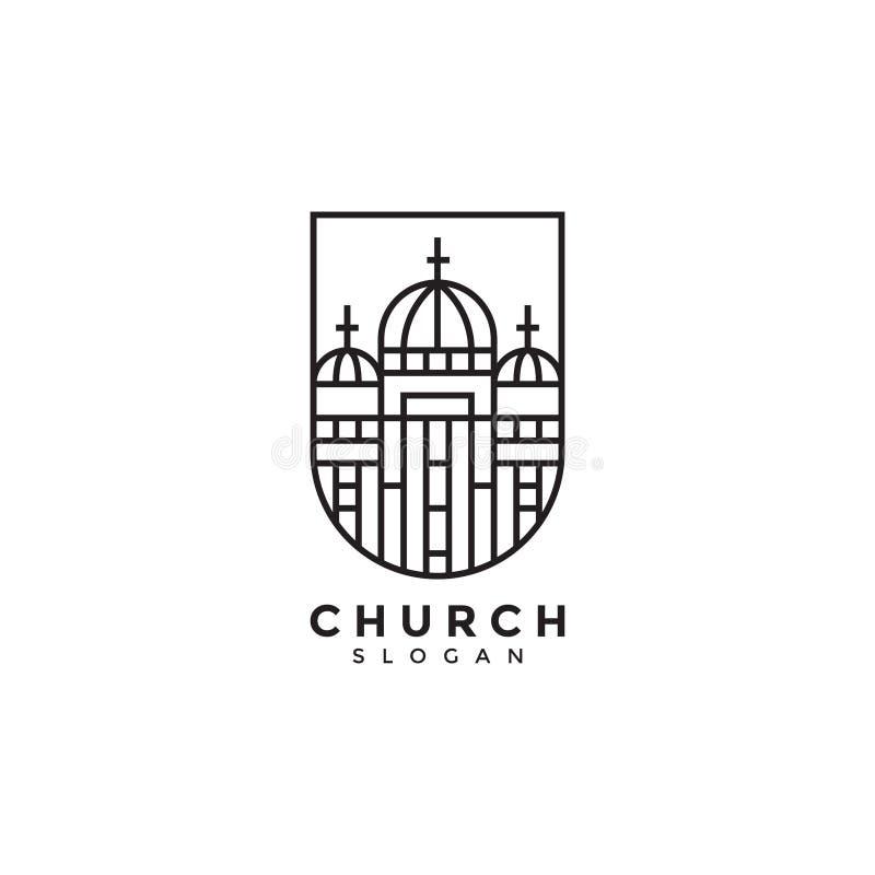 Conception étonnante de logo d'église, conception créative moderne de logo, logo noir de couleur illustration libre de droits
