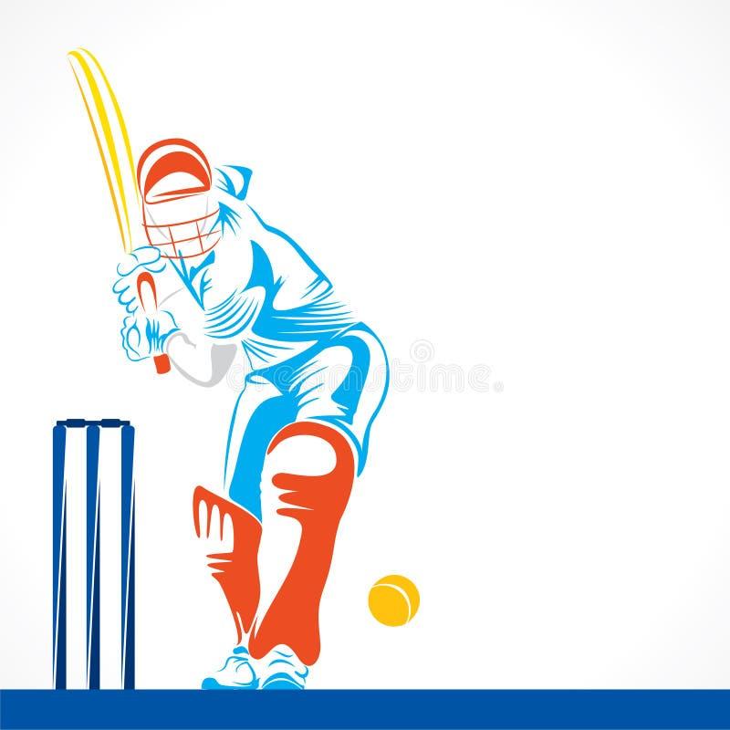 Conception abstraite créative de joueur de cricket par la course de brosse illustration libre de droits