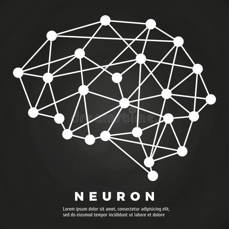 Conception abstraite d'affiche de réseau neurologique de cerveau illustration stock