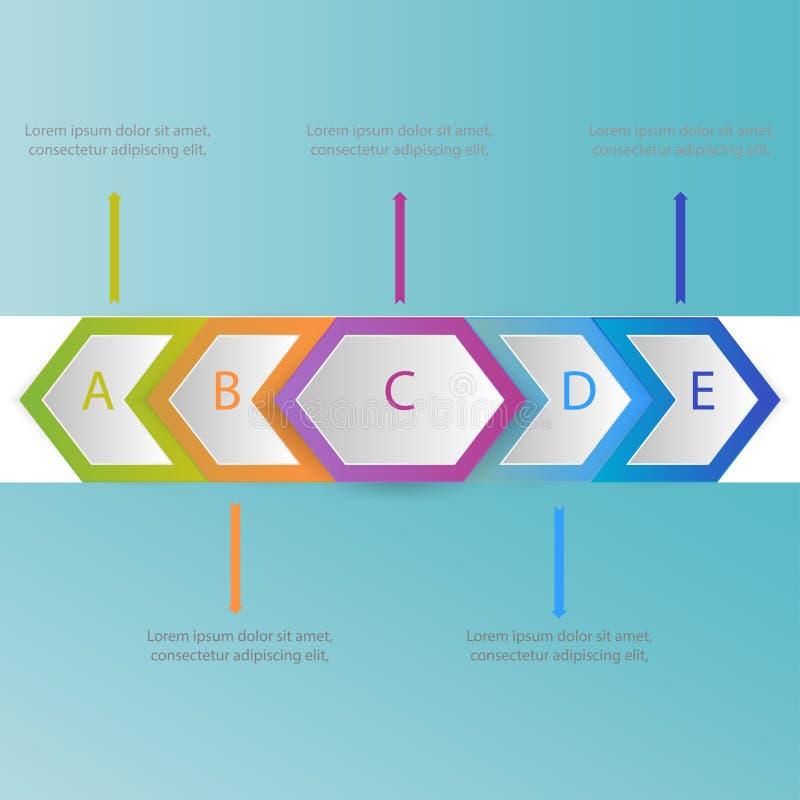Conception abstraite de calibre d'infographics avec le vect de papier et de flèches illustration de vecteur