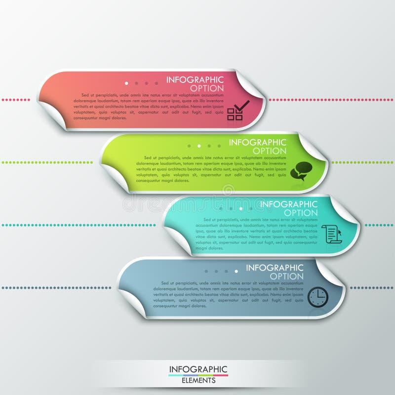 Conception abstraite de calibre d'infographics avec les éléments de papier numérotés - dirigez l'illustration illustration libre de droits