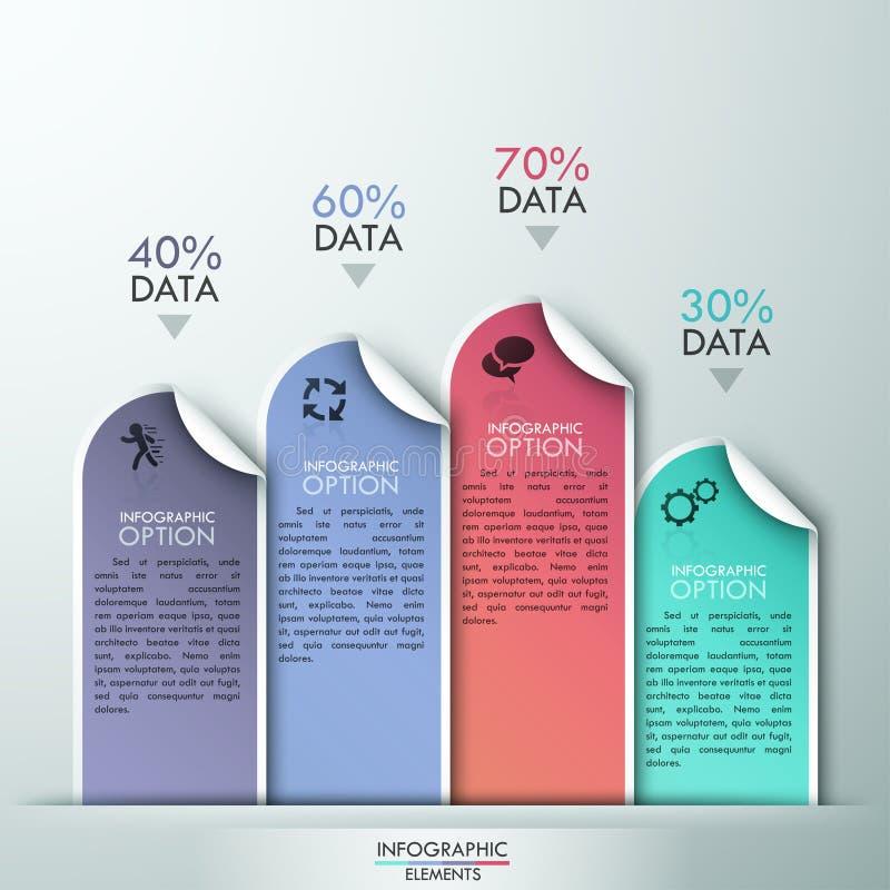 Conception abstraite de calibre d'infographics avec les éléments de papier numérotés - dirigez l'illustration illustration de vecteur