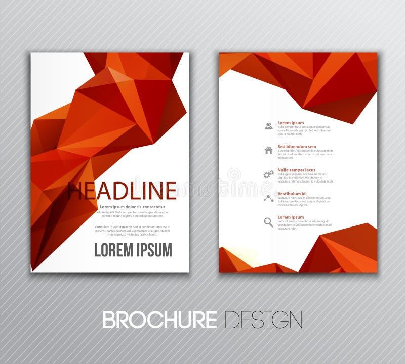 Conception abstraite de calibre de vecteur, brochure, page, tract, avec les milieux triangulaires géométriques colorés illustration stock