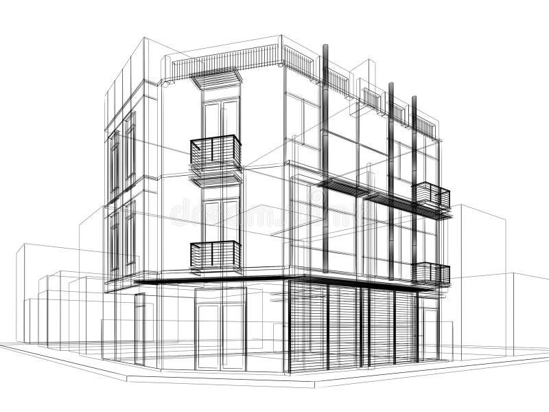 Conception abstraite de croquis du bâtiment extérieur illustration stock
