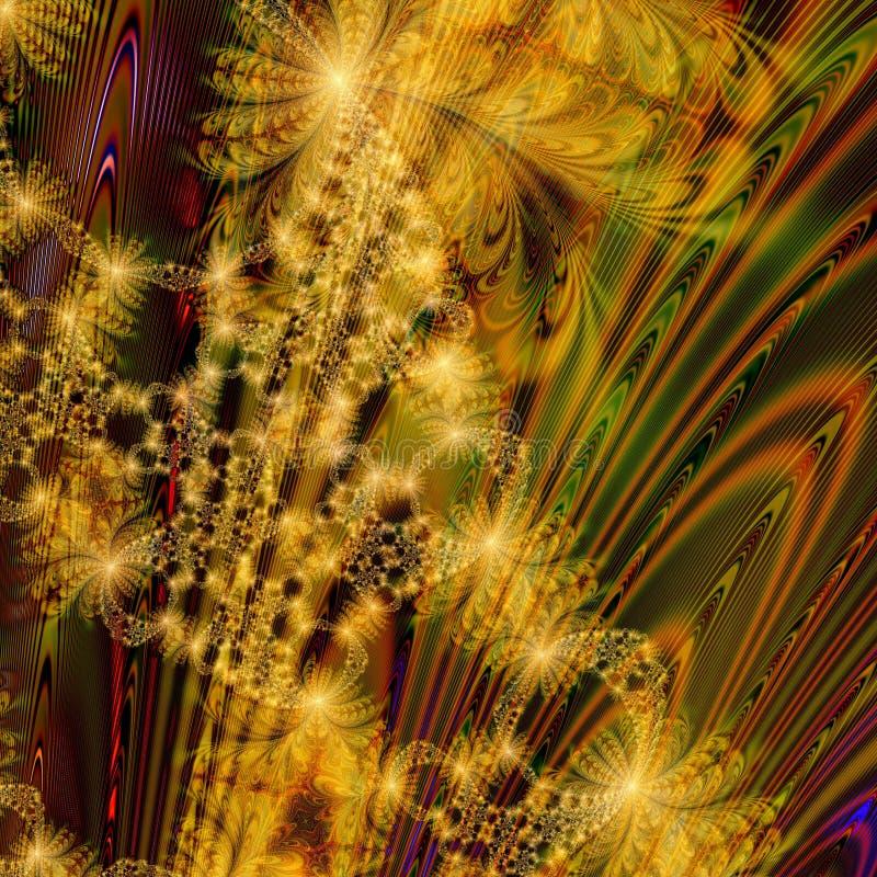 Conception abstraite de fond des feux d'artifice d'or chaotiques illustration de vecteur
