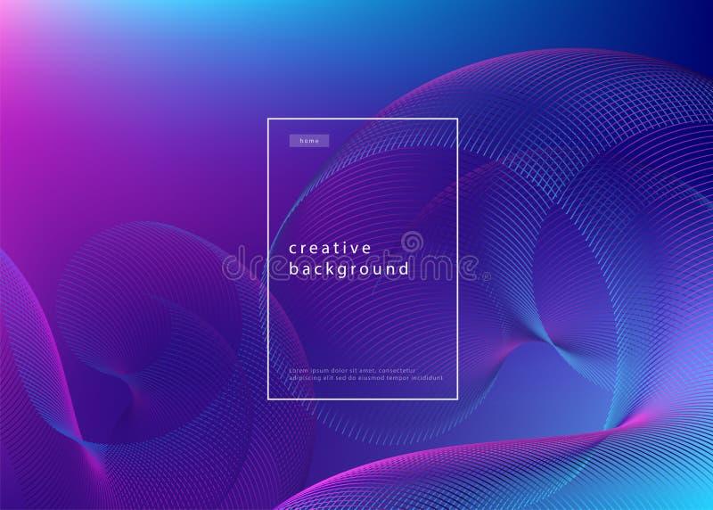 Conception abstraite de fond Gradient liquide avec les lignes géométriques et l'effet de la lumière Concept minimal de mouvement  illustration stock