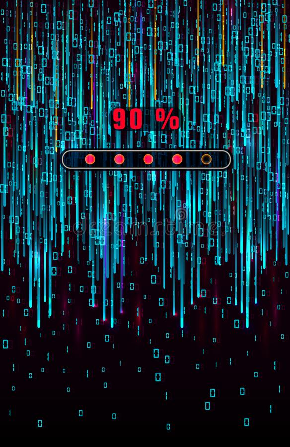 Conception abstraite de fond de matrice avec le code informatique binaire et la barre de chargement de progrès Chiffres sur l'écr illustration libre de droits