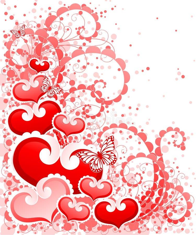 Conception abstraite de jour de Valentines avec des coeurs. illustration stock
