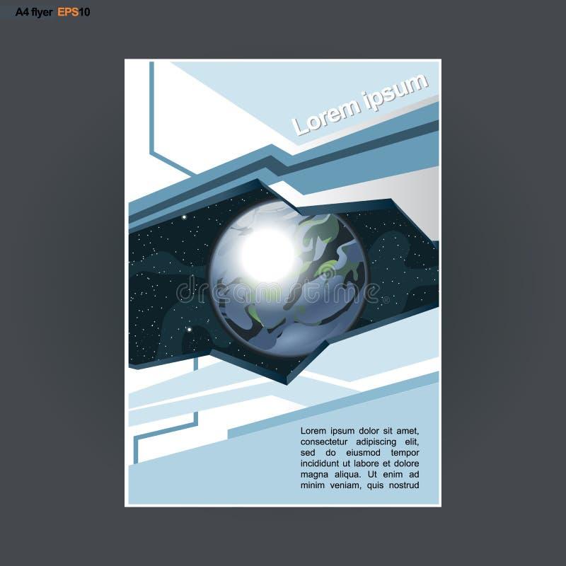 Conception abstraite de l'impression A4 avec les triangles et le thème colorés de cosmos, pour des insectes, des bannières ou des illustration libre de droits