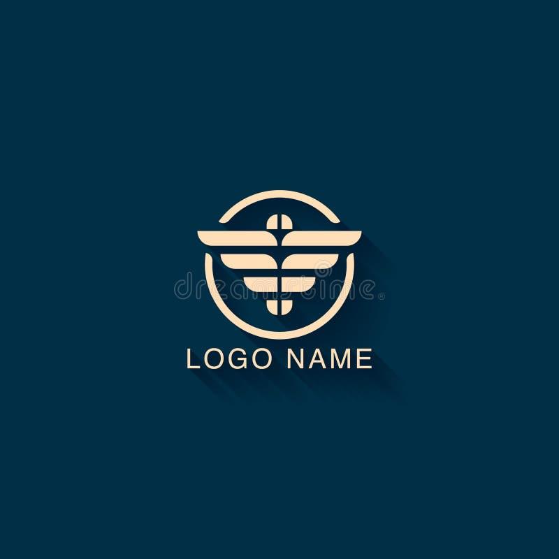 Conception abstraite de logo avec le concept de forme d'aigle Calibre minimaliste de conception de logo illustration de vecteur