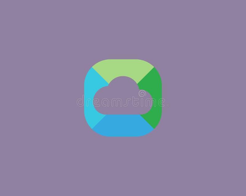Conception abstraite de logo de nuage Symbole créatif de stockage Icône universelle de vecteur illustration libre de droits