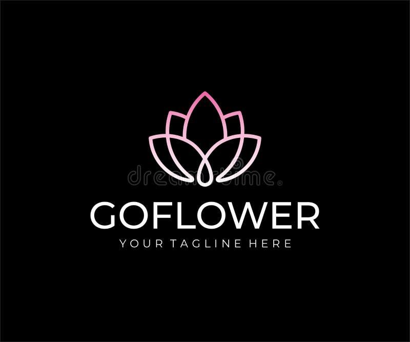 Conception abstraite de logo de fleur Conception linéaire de vecteur de lotus illustration stock
