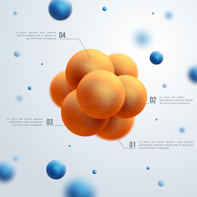 Conception abstraite de molécules illustration stock