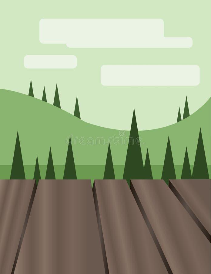 Conception abstraite de paysage avec les arbres, les collines et les nuages verts, plancher en bois, style plat illustration stock