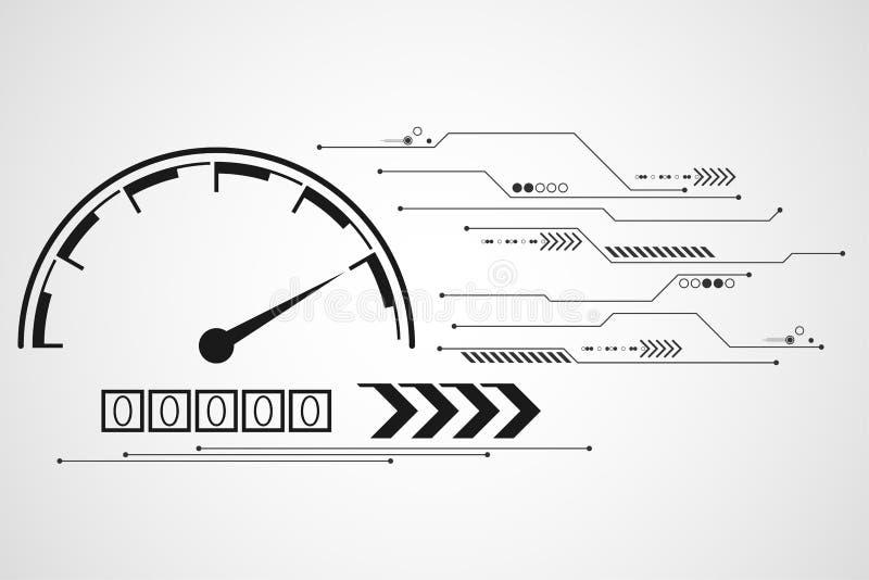 Conception abstraite de tachymètre de technologie de fond de vecteur illustration libre de droits