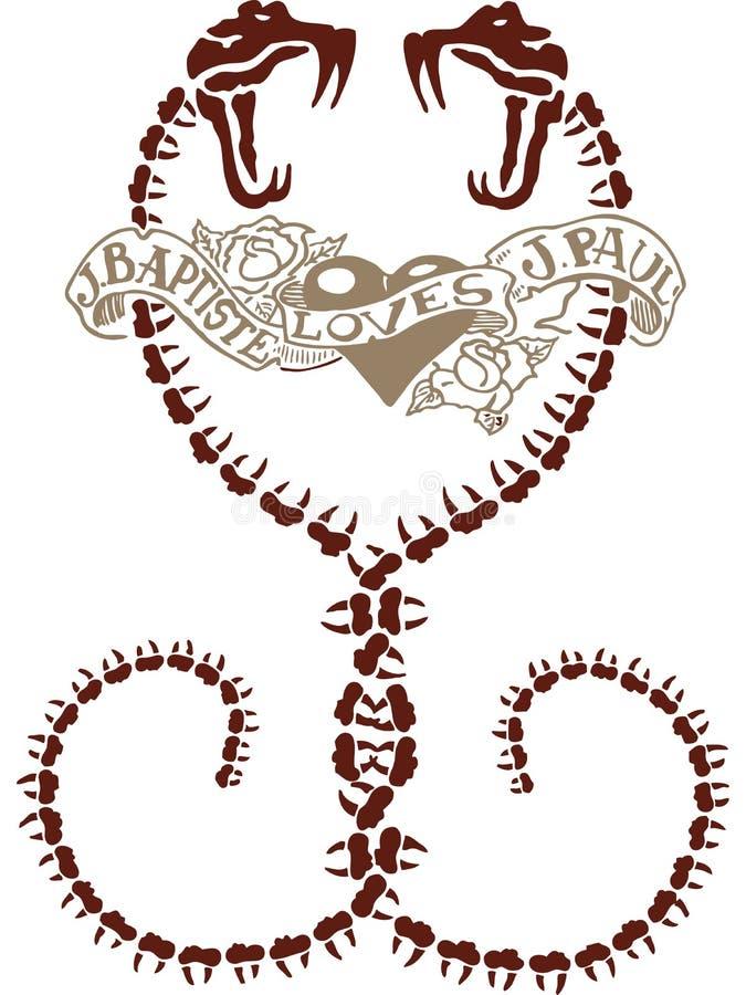 Conception abstraite de tatouage de serpent de coeur illustration libre de droits