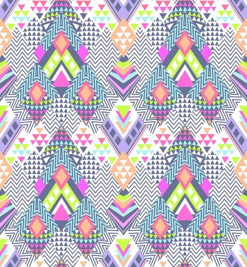 Conception abstraite de zigzag de geo dans le jeune style aztèque - fond sans couture illustration stock