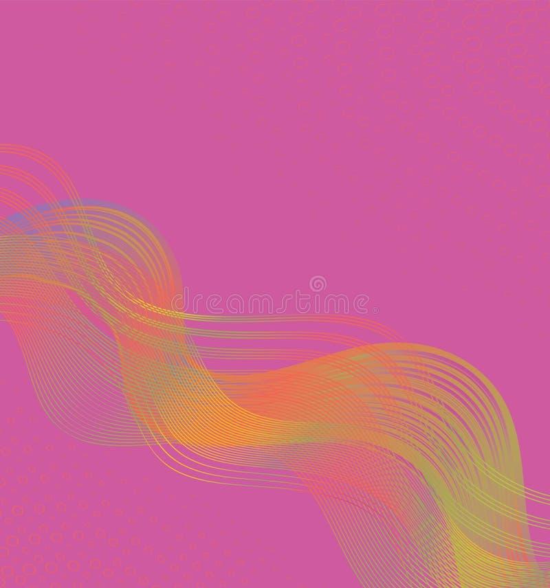 Conception abstraite rose moderne de fond avec les lignes et les formes colorées onduleuses débordantes illustration libre de droits