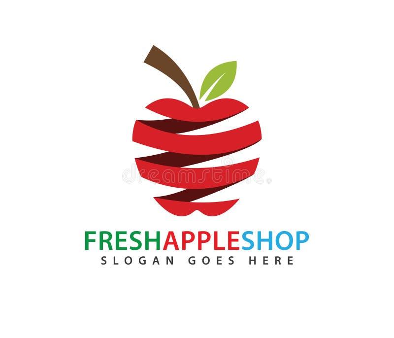 Conception abstraite rouge de logo de vecteur de fruit de pomme de ressort illustration de vecteur
