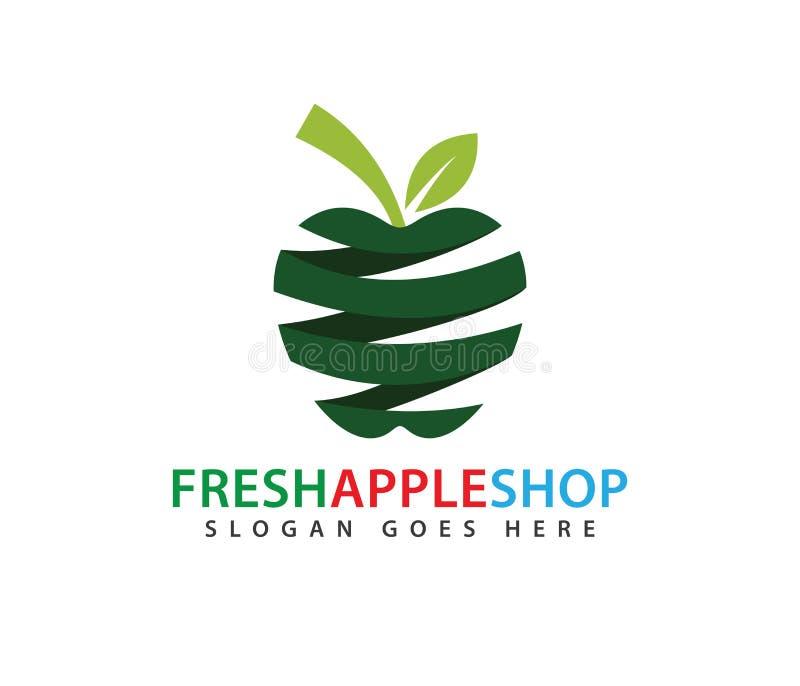Conception abstraite verte de logo de vecteur de fruit de pomme de ressort illustration de vecteur
