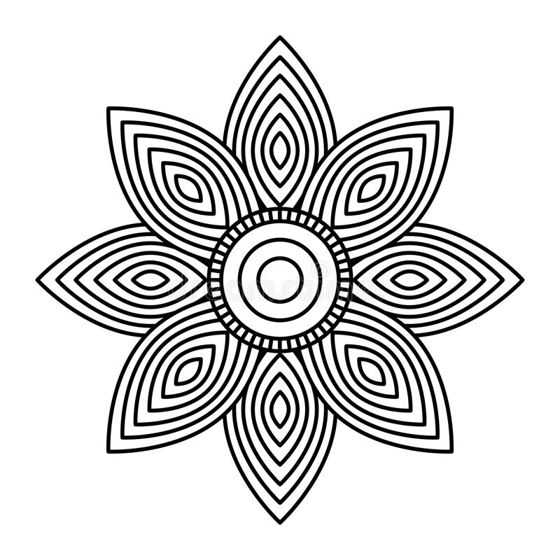 Conception adulte de coloration d'élément ethnique décoratif de fleur de mandala illustration libre de droits