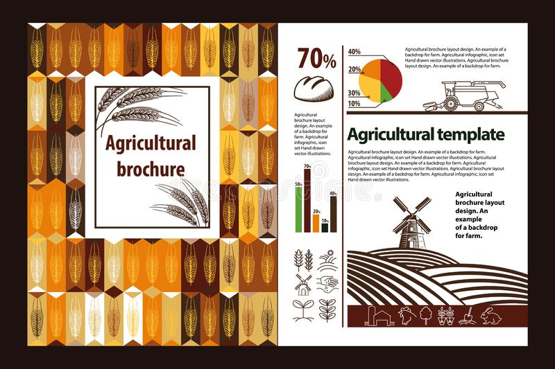 Conception agricole de disposition de brochure Un exemple d'un contexte pour la ferme Infographic agricole, ensemble de logo illustration stock
