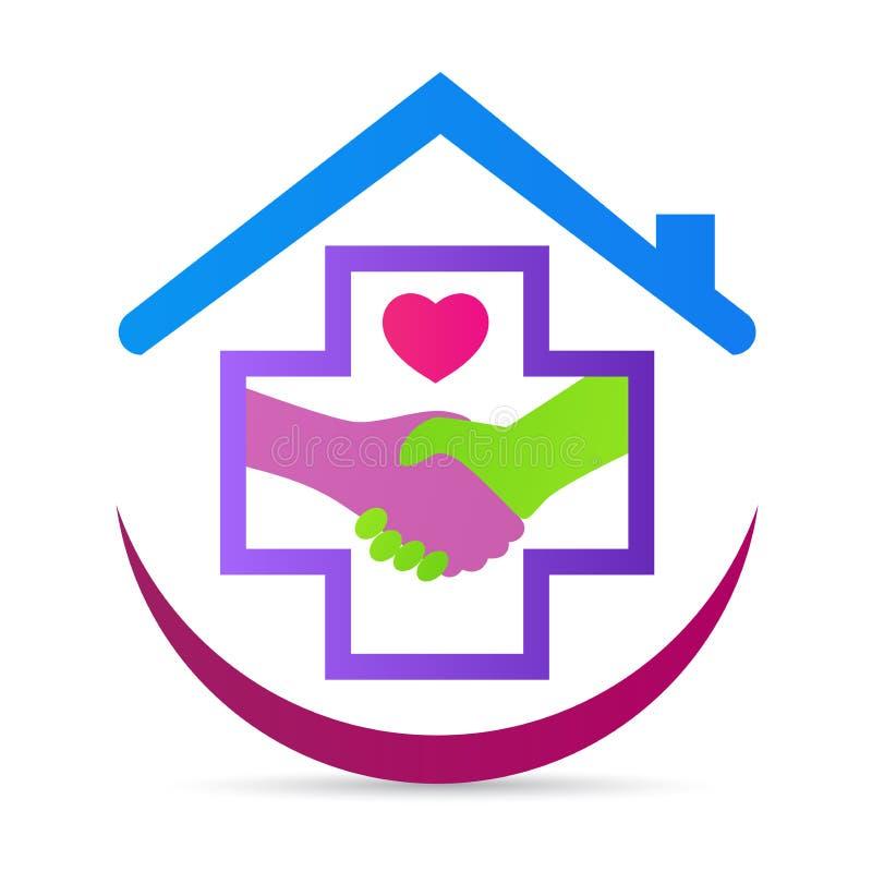 Conception amicale de vecteur de logo de poignée de main d'amour d'hôpital de santé de soins médicaux illustration stock