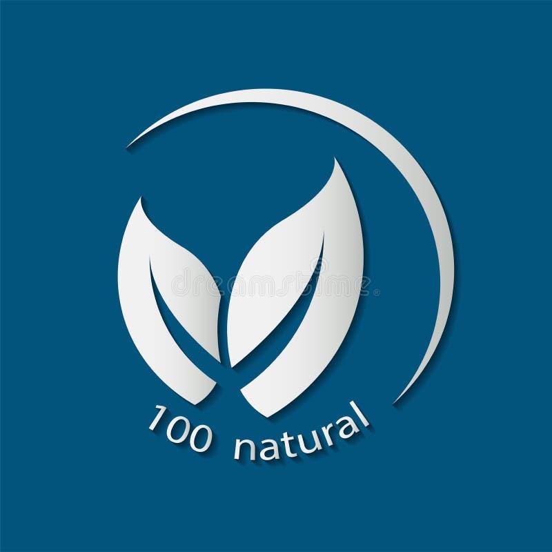 Conception amicale naturelle produit naturel de logo autocollants, labels, étiquettes avec le texte Naturel, nourriture d'eco illustration de vecteur