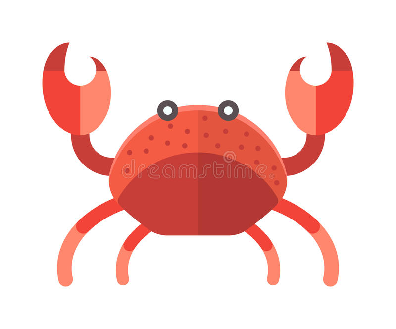 Conception animale d'océan d'illustration drôle de vecteur de crabe mignon de bande dessinée illustration stock