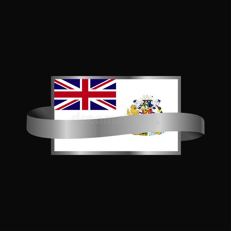 Conception antarctique britannique de bannière de ruban de drapeau de territoire illustration stock