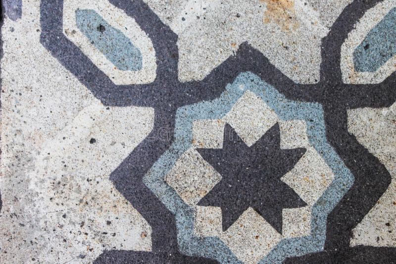 Conception antique de plancher de tuiles de cru rétro photo stock
