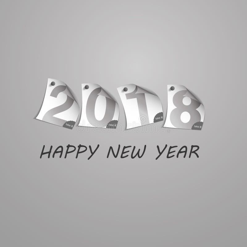 Conception argentée abstraite de Grey New Year Card Template avec des chiffres illustration stock