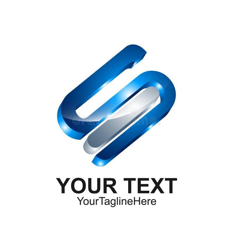 Conception argentée du bleu colorée par calibre 3d de conception de logo de la lettre S pour illustration de vecteur
