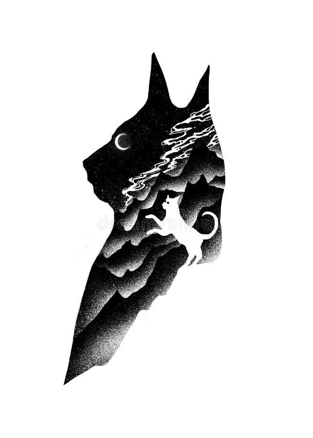 Conception Art Illustration de nature de portée de chat illustration de vecteur