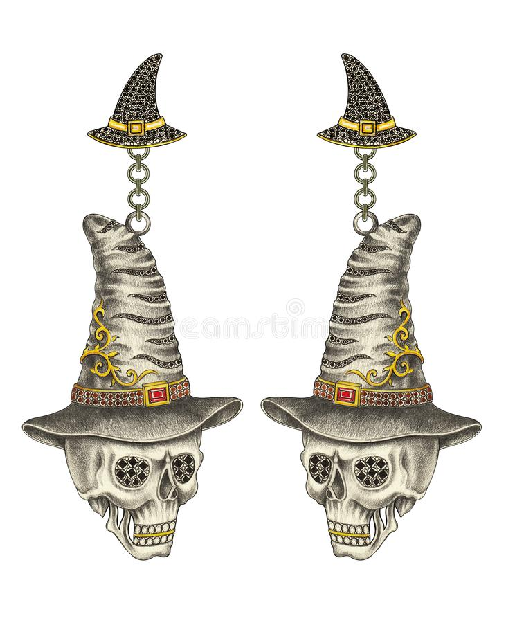 Conception Art Witch Skull Earrings de bijoux illustration stock