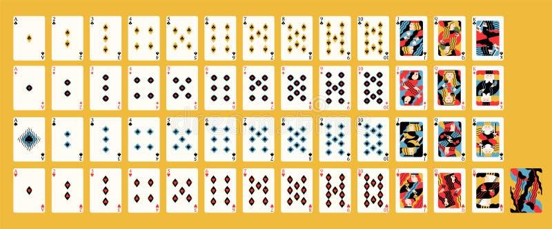 Conception artistique contemporaine créative de plate-forme française classique des cartes de jeu avec les costumes traditionnels illustration libre de droits
